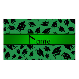 Personalized name green graduation cap pack of standard business cards