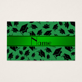 Personalized name green graduation cap business card