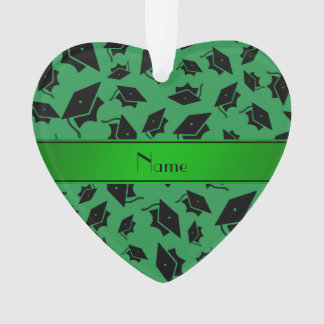 Personalized name green graduation cap