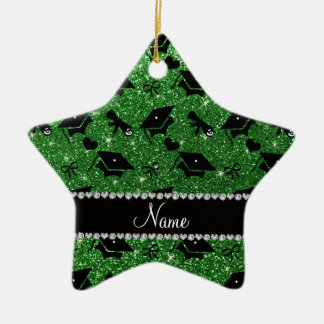 Personalized name green graduation hearts bows ceramic star decoration