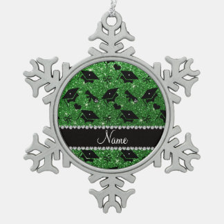 Personalized name green graduation hearts bows pewter snowflake decoration
