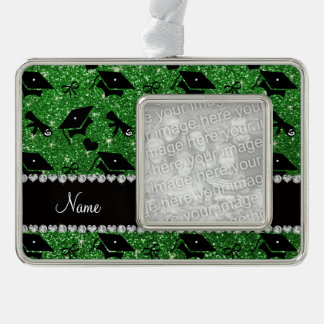 Personalized name green graduation hearts bows silver plated framed ornament