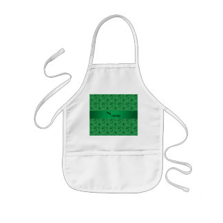 Personalized name green guitar pattern aprons