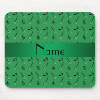Personalized name green guitar pattern mouse mat