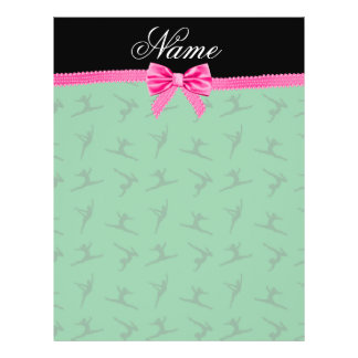 Personalized name green gymnastics pink bow flyer design
