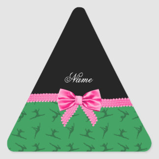 Personalized name green gymnastics pink bow triangle stickers
