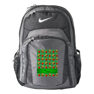 Personalized name green hamburgers fries dots backpack