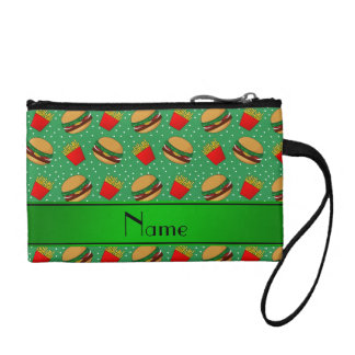 Personalized name green hamburgers fries dots coin wallets