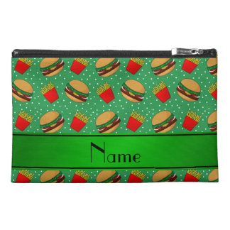 Personalized name green hamburgers fries dots travel accessories bags
