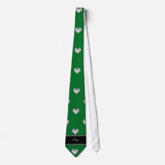 Personalized name green heart diamonds custom ties