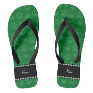 Personalized name green hearts and paw prints flip flops
