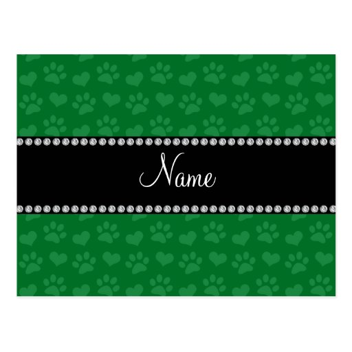 Personalized name green hearts and paw prints post card
