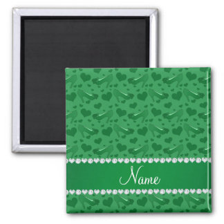Personalized name green hearts shoes bows square magnet