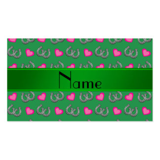 Personalized name green horseshoes pink hearts business card templates