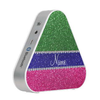 Personalized name green hot pink glitter speaker