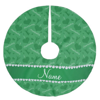 Personalized name green i love cheerleading hearts brushed polyester tree skirt