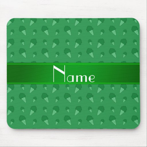 Personalized name green ice cream pattern mouse pad