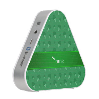 Personalized name green ice cream pattern bluetooth speaker