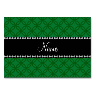 Personalized name green interlocking circles table cards