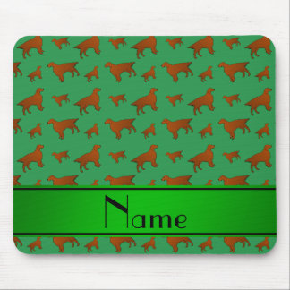 Personalized name green irish setter dogs mouse pad