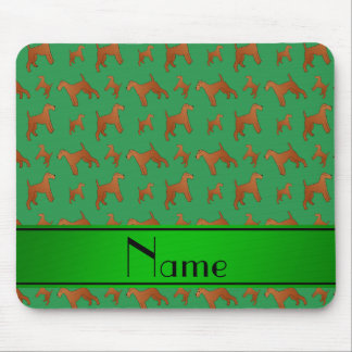 Personalized name green irish terrier dogs mouse pad