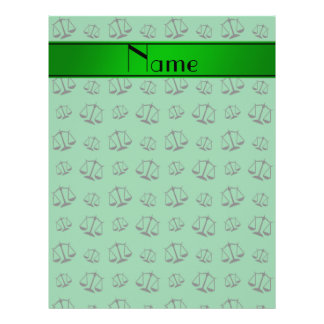 Personalized name green justice scales 21.5 cm x 28 cm flyer