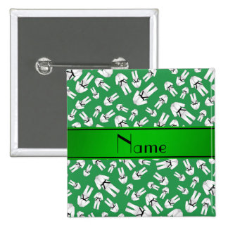Personalized name green karate pattern pinback buttons