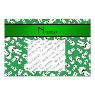 Personalized name green karate pattern photo art