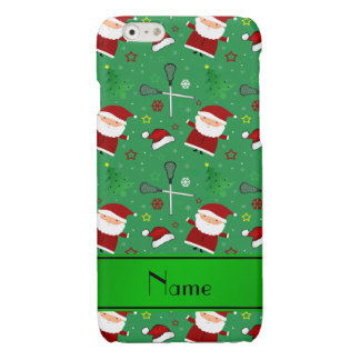 Personalized name green lacrosse christmas pattern iPhone 6 plus case