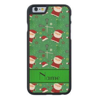 Personalized name green lacrosse christmas pattern carved® maple iPhone 6 case
