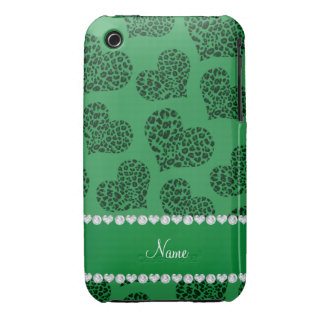 Personalized name green leopard hearts iPhone 3 cover
