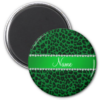 Personalized name green leopard pattern magnets
