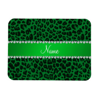 Personalized name green leopard pattern flexible magnets
