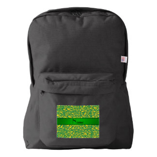 Personalized name green lightning bolts backpack