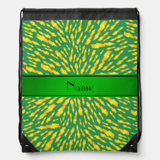 Personalized name green lightning bolts drawstring bags