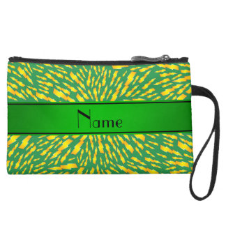 Personalized name green lightning bolts wristlet clutch