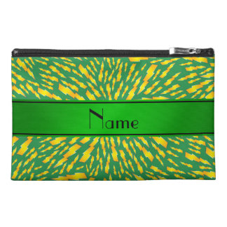 Personalized name green lightning bolts travel accessories bags