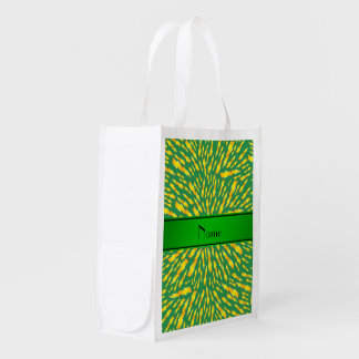 Personalized name green lightning bolts reusable grocery bag