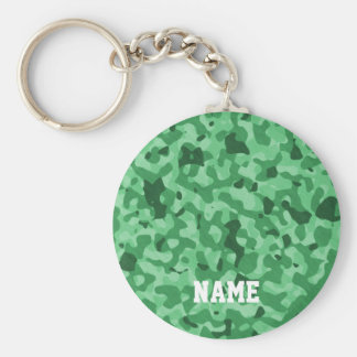 Personalized Name | Green Military Camo Pattern Basic Round Button Key Ring
