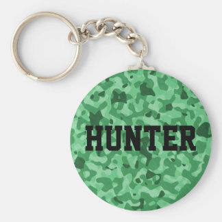 Personalized Name Green Military Camo Pattern Basic Round Button Key Ring