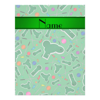 Personalized name green mini golf flyer