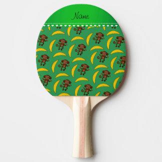 Personalized name green monkey bananas ping pong paddle