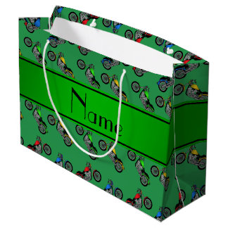 Personalized name green motorcycles large gift bag