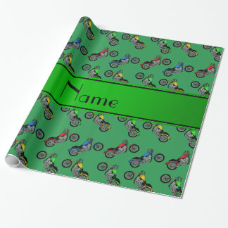 Personalized name green motorcycles wrapping paper