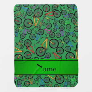 Personalized name green mountain bikes baby blanket