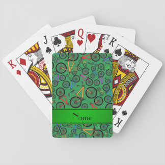 Personalized name green mountain bikes playing cards