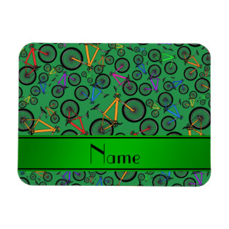 Personalized name green mountain bikes rectangle magnets