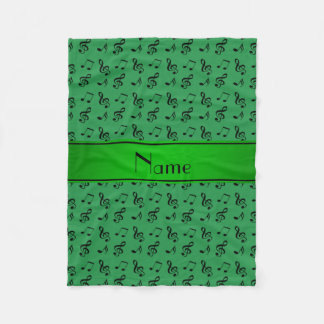 Personalized name green music notes fleece blanket