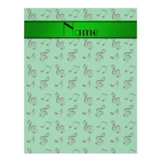 Personalized name green music notes 21.5 cm x 28 cm flyer