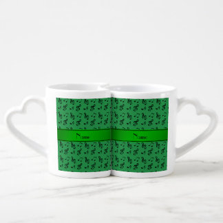 Personalized name green music notes couples mug